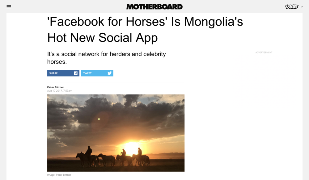 'Facebook for Horses' Is Mongolia's Hot New Social App   Motherboard, VICE News