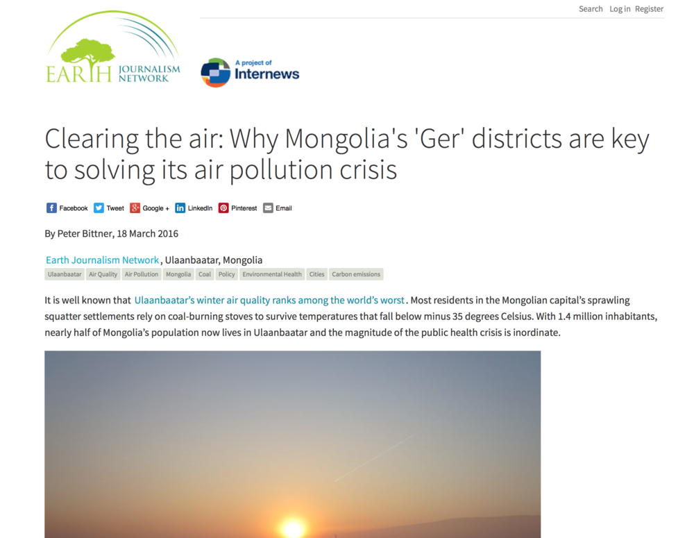 Clearing the air: Why Mongolia's 'Ger' districts are key to solving its air pollution crisis   Earth Journalism Network