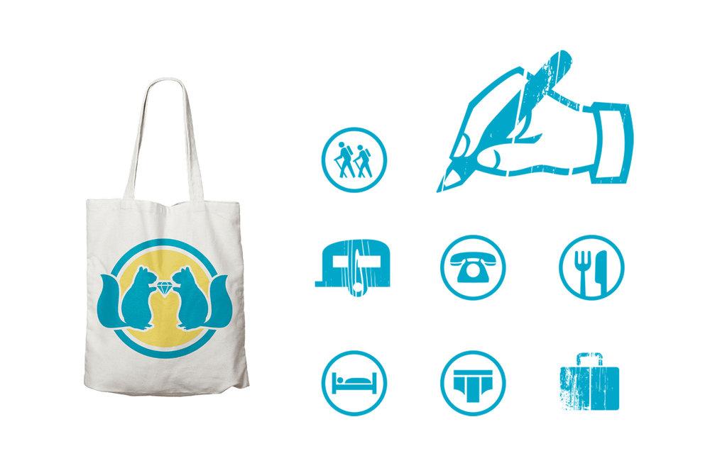 Wedding Collateral, Icons + Infographics, Bag