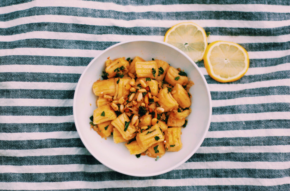 Garlic Lemon Sage Gnocchi with Toasted Pine Nuts