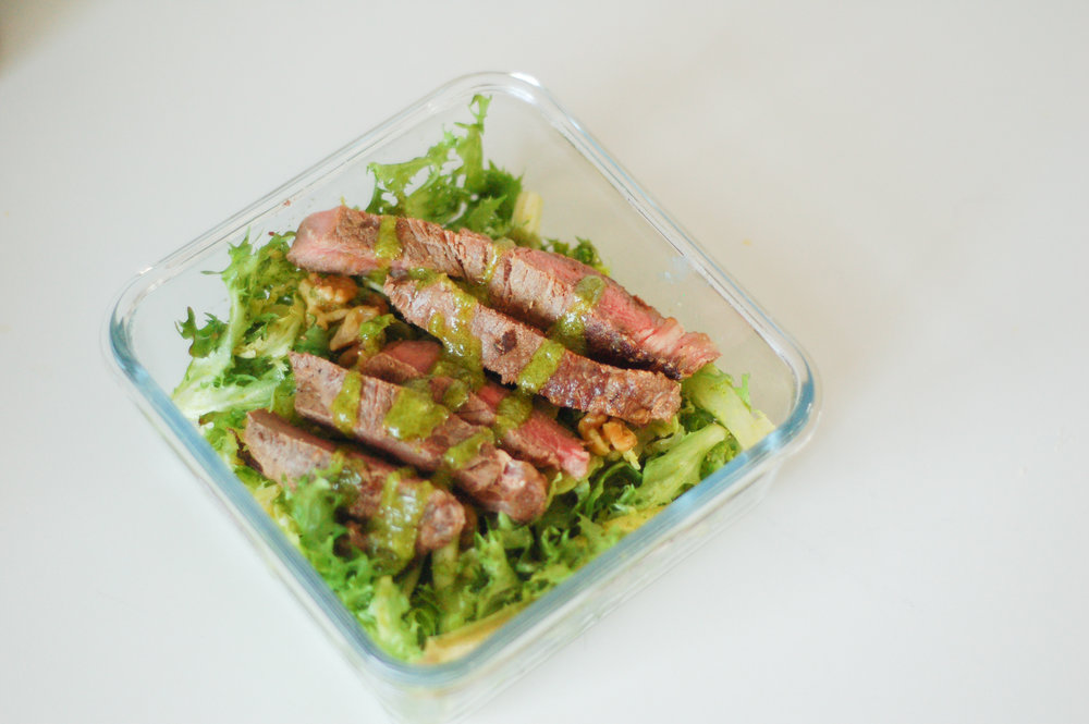 steak salad, chicken salad, endive salad, curly endive salad, green goddess, meal prep,