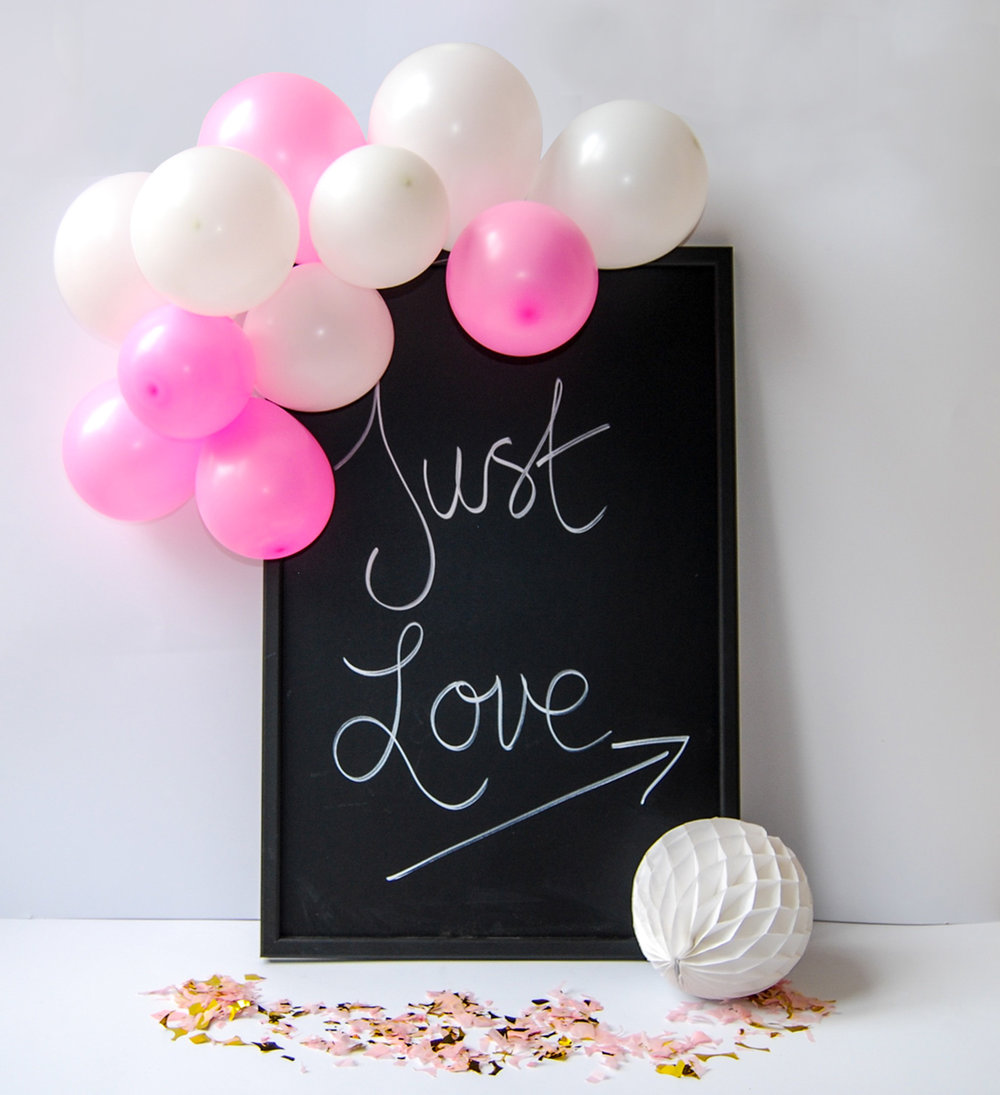 DIY skylt med ballonggirlang