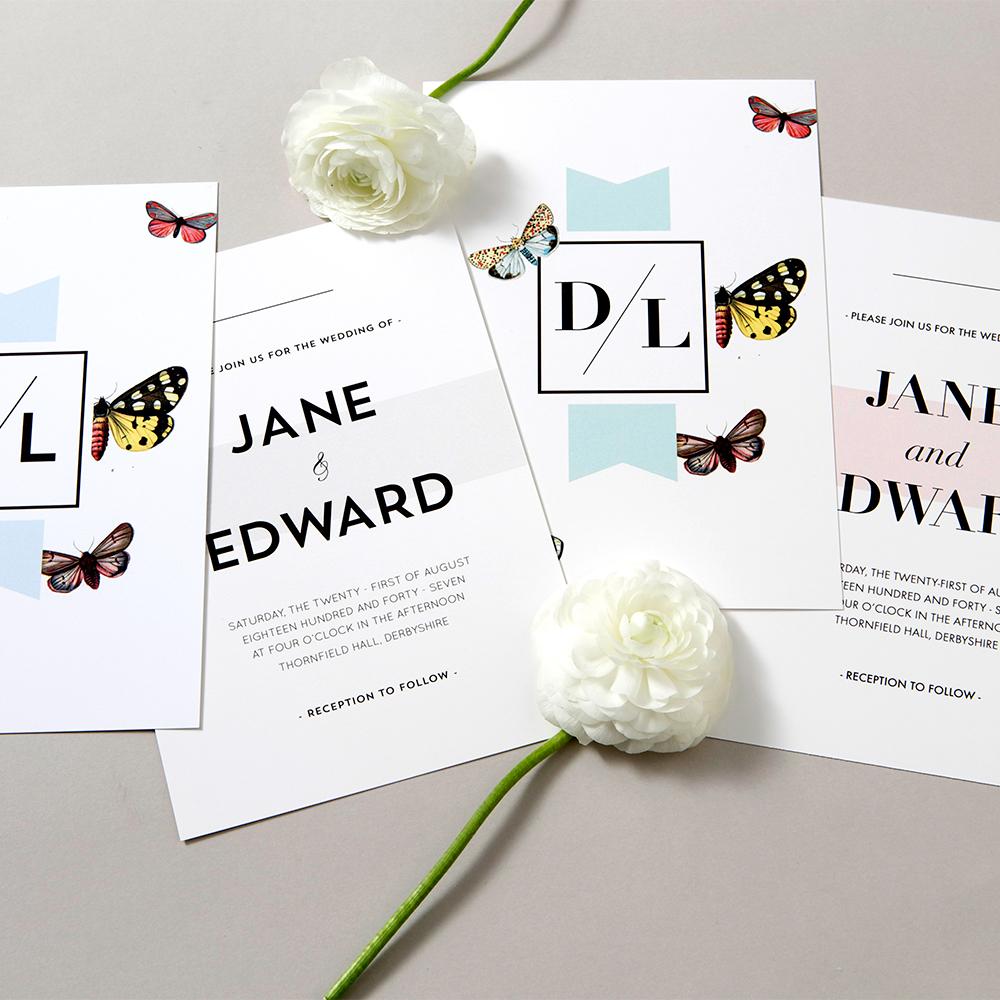 Tidsplanering för save the date, inbjudan, program, meny och tackkort för bröllop