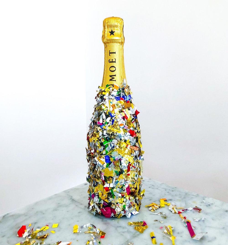 DIY: Confetti inkädd champagneflaska
