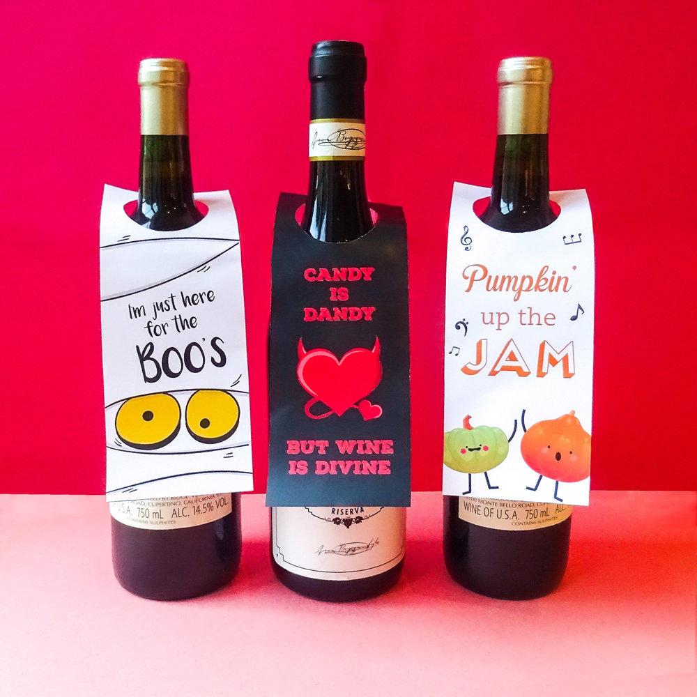 Halloweenkort till vinflaskor