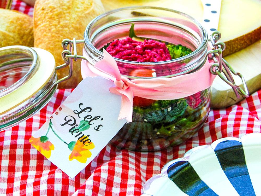Etiketter till picknick uppdukningen