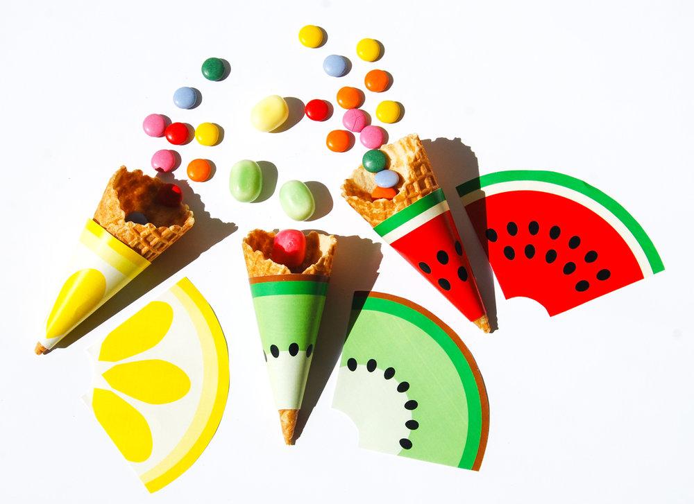 frukt glasstrutar i frukterna citron, kiwi och vattenmelon