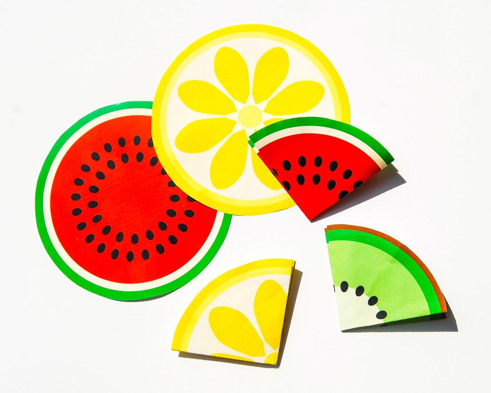 kalas inbjudningar med fruktmönster i frukterna vattenmelon kiwi och citron