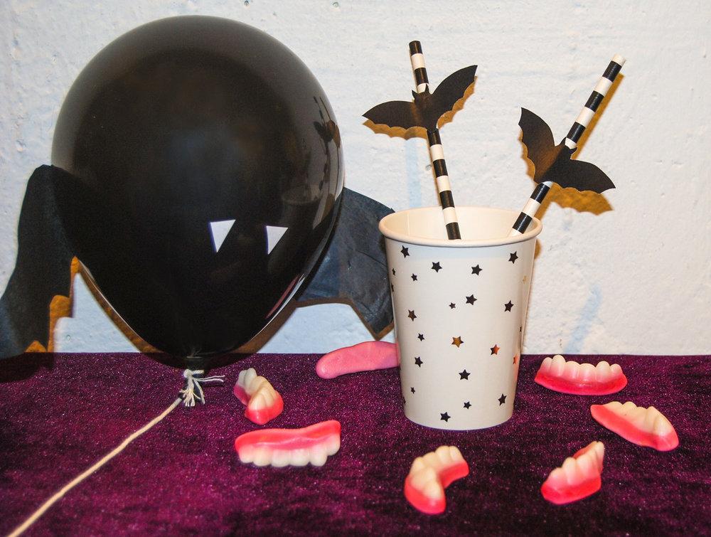 halloweenpyssel sugrör med fladdermöss