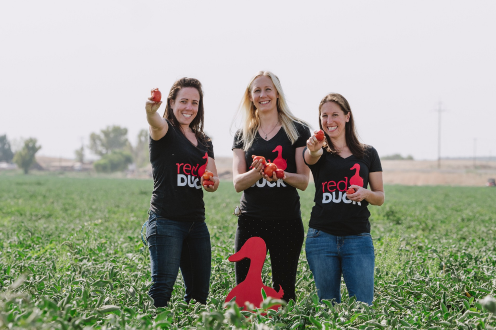 Jessica Hilbert (right) and her Red Duck Foods co-founders. Photo courtesy of Red Duck Foods.