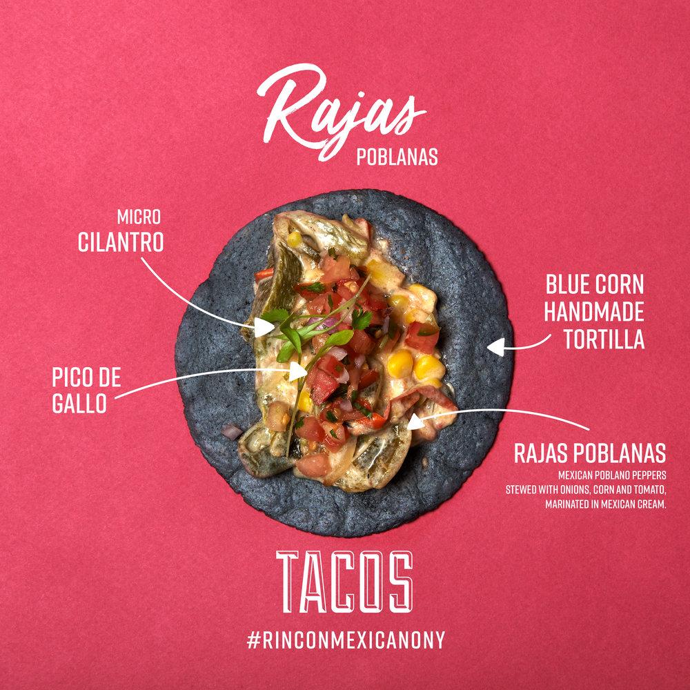 Tacos Rajas Rincon Mexicano New York