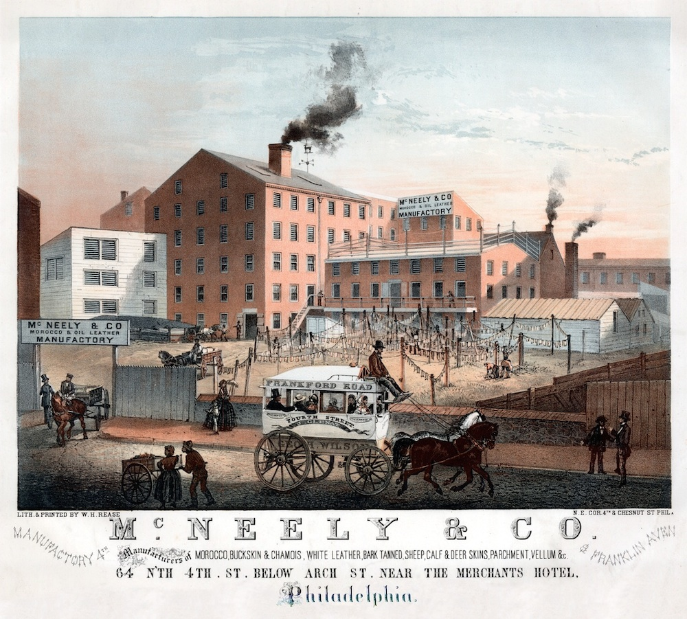 A mid-18th century lithograph depicting an industrial tannery in Philadelphia. Image courtesy Library Company of Philadelphia