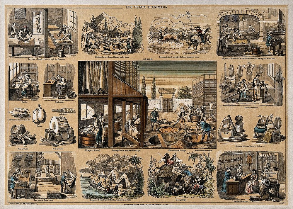 An early 19th century lithograph by Belin et Belmont depicting a village tannery and the uses of its leather.