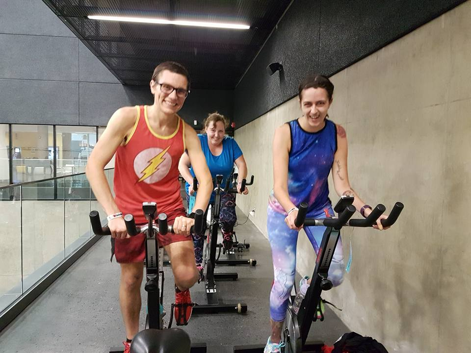 - Brian and I at spin class with our friend Cheryl.