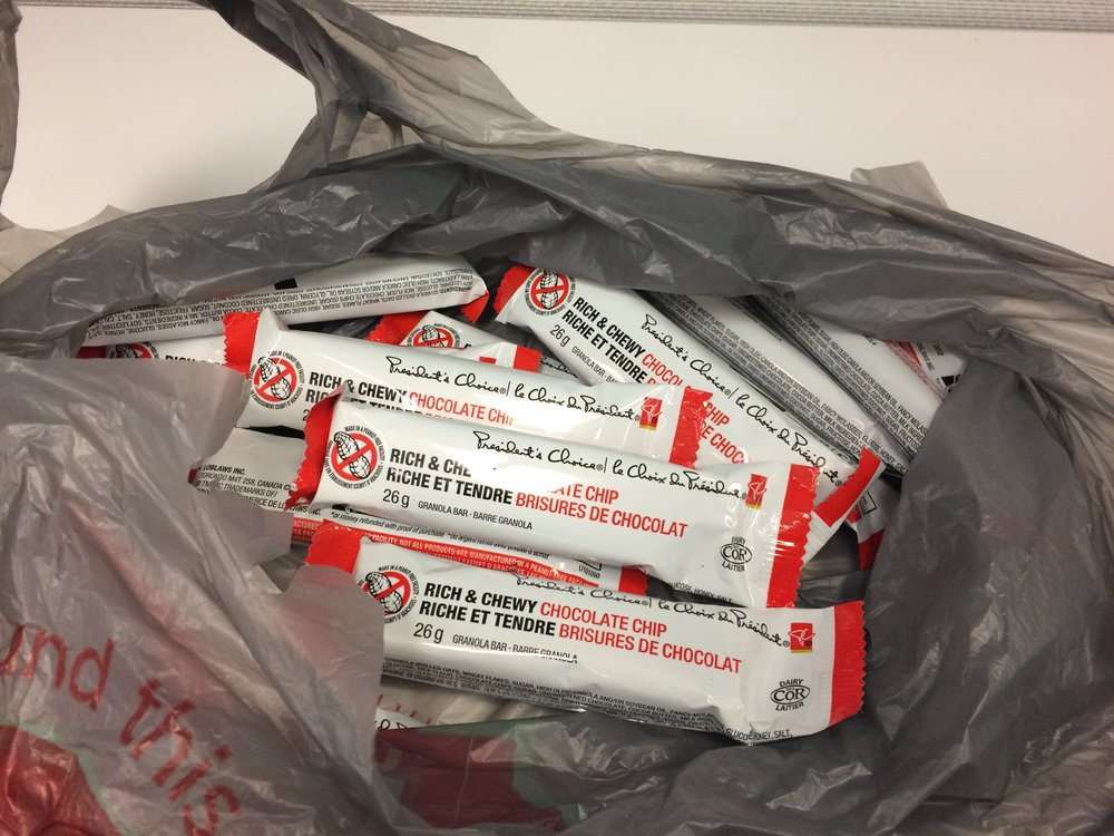 Brian's office stash of emergency granola bars. -