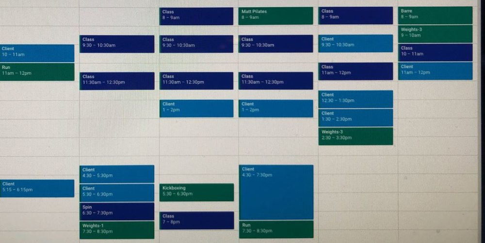 A typical week for me - scheduleing is key!
