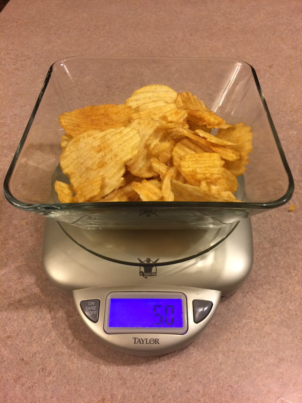 One of my favorite foods - an appropriate portion size of chips -