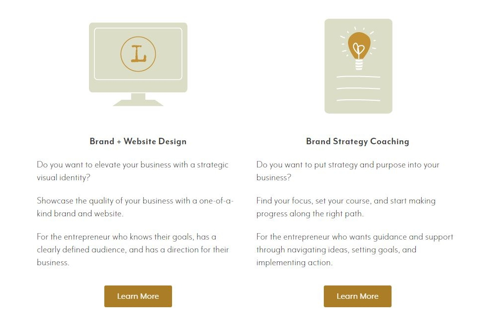 creative product or service overview page example