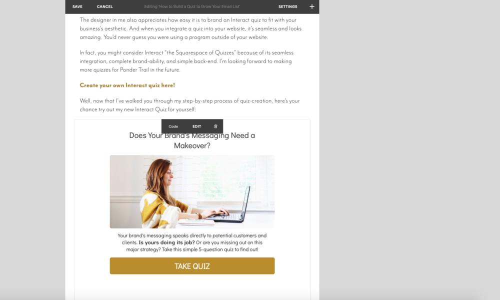 Embed Quiz Squarespace Site
