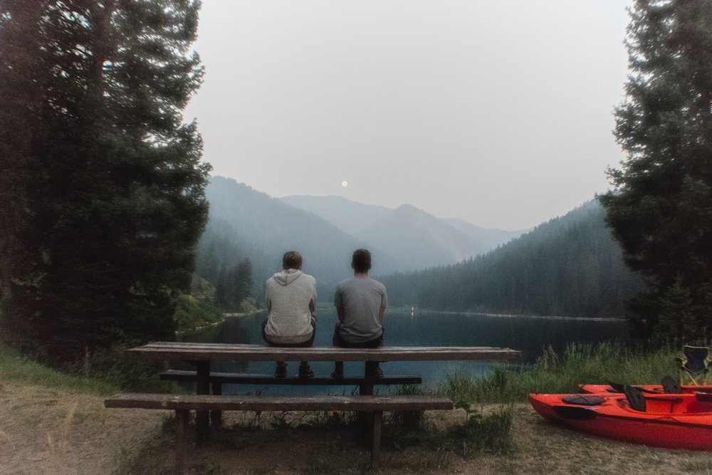 Kael and Noah and the moon. I wish those kayaks were ours.