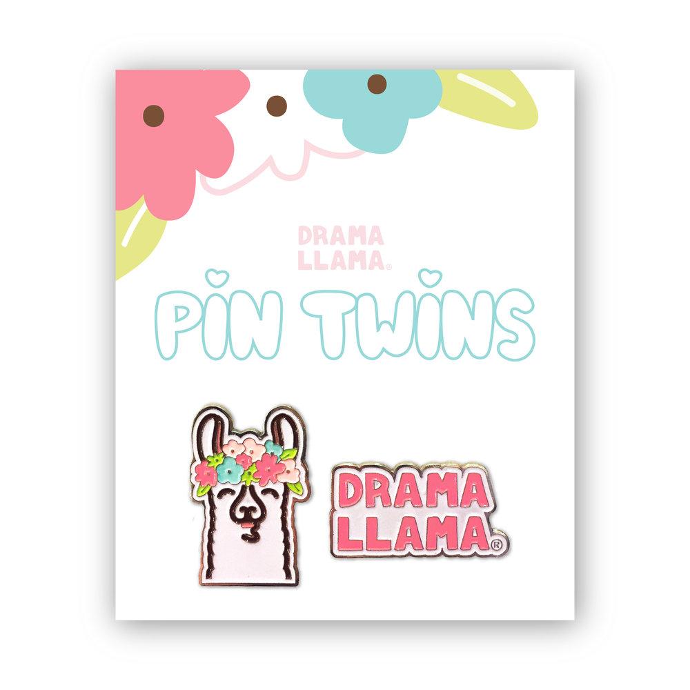 Drama Llama Floral Enamel Pin Set