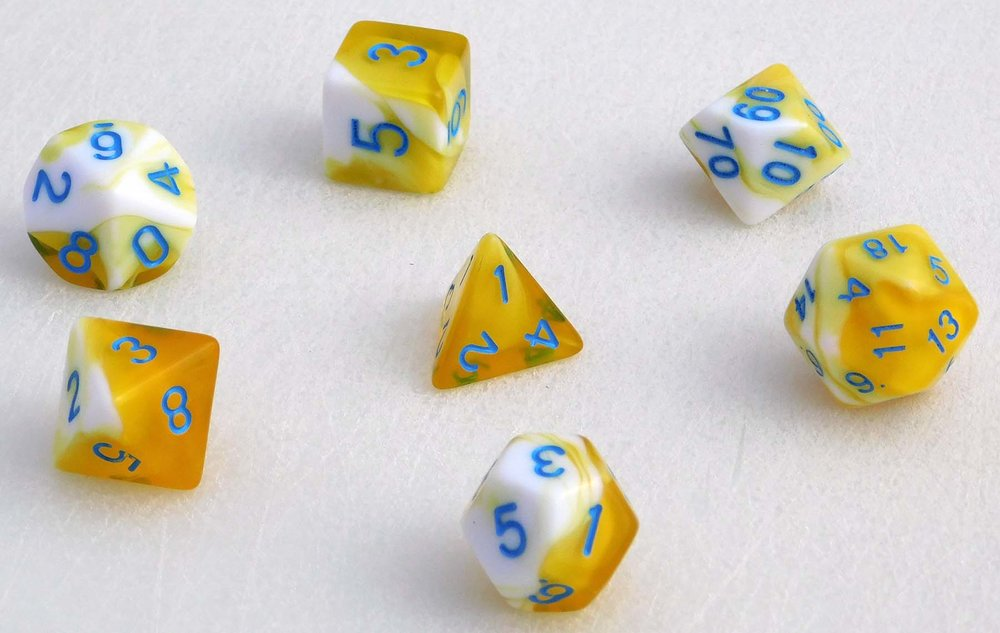 Fancy Marbled Dice Set - Yellow/Blue