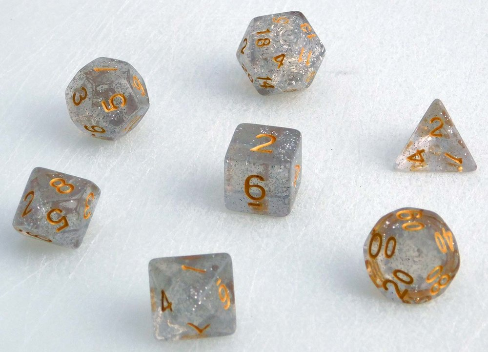 Translucent Marbled Dice Set - White