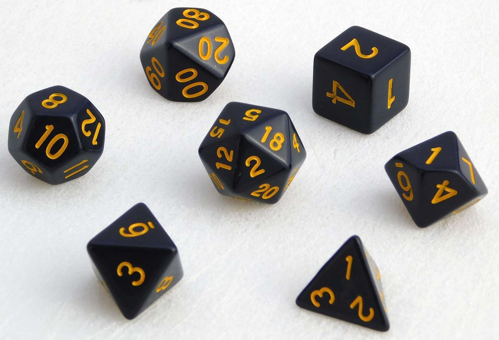 Standard Dice Set - Black/Yellow