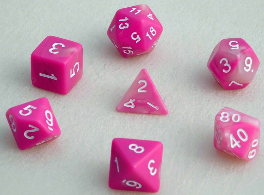 Fancy Marbled Dice Set - Pink/White