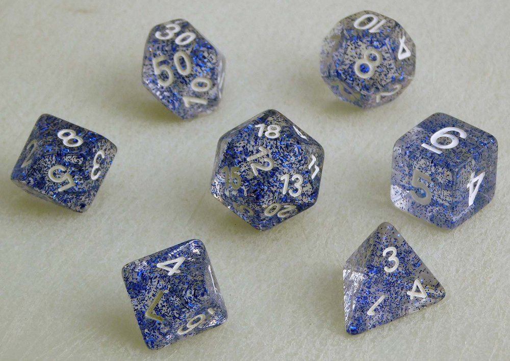 Glitter Dice Set - Blue
