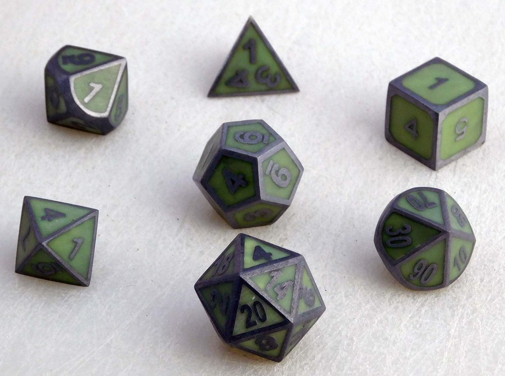 Solid Metal Glow Dice Set