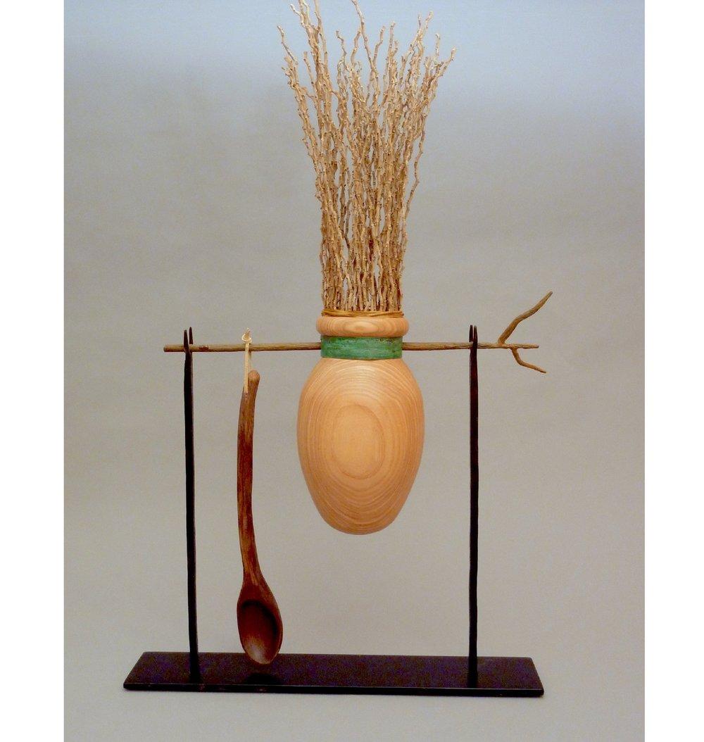 "Ritual Offering  33""H x 19""L; Ash, Bocote, Copper, Steel, Palm Inflorescence $795"