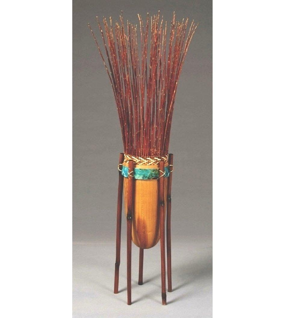 """Robin's Delight  26""""H x 6""""D; Cherry, Bamboo, Willow, Cedar Bark, Brass $475"""