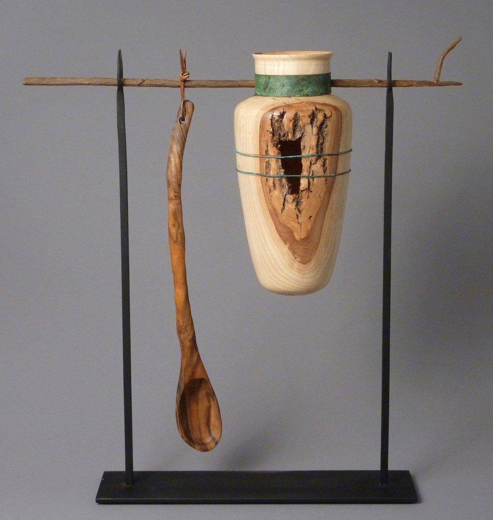 "Mystical Artifacts  21""L x 23""H; Ash, Marblewood, Steel, Copper, Patina $875"
