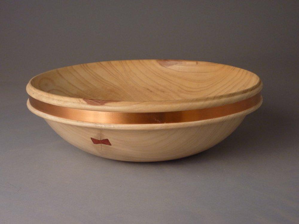 "Food Safe Bowl  12-1/4""D x 3-3/4""H; Ash, Copper, Butterfly $145"