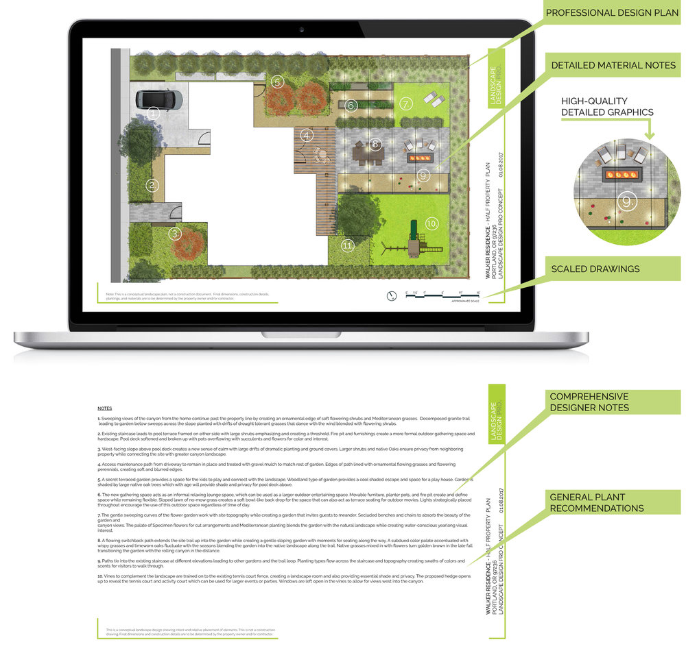 Get Professional Quality Designs - With Landscape Design Pro, you receive more than just pretty images to inspire – you are provided a professional concept plan to create your dream landscape. Your designer will eliminate all the guesswork in your landscape decisions and create a concept specifically for you. Your customized concept includes detailed notes from your designer explaining the layout, materials, and general planting recommendations.