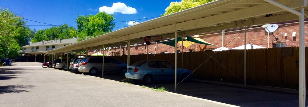 Homeowners enjoy covered parking spaces at Briarwood Condos near Golden, Colorado