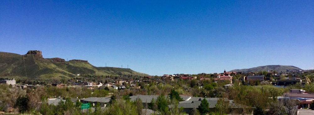 View of Downtown Golden, Colorado from the Canyon Point Villas townhome community