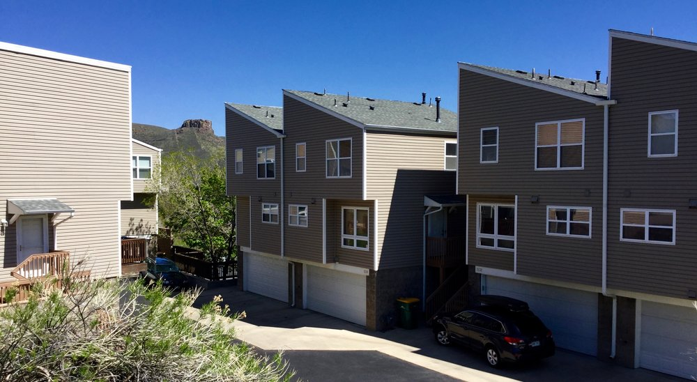 Each townhouse at Canyon View Court in Golden, Colorado features a one-car tuck-under style garage.
