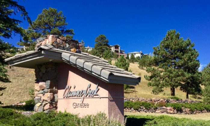 Chimney Creek Entrance. Townhome and Condo community near Golden, Colorado