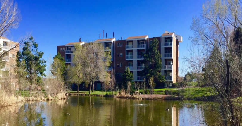 Golden Ridge Condominium community has a peaceful central pond which many residents can view from their patios and balconies.
