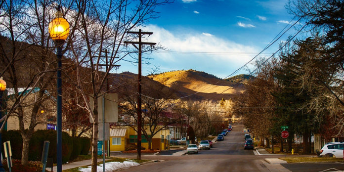 A quiet street in Golden, Colorado
