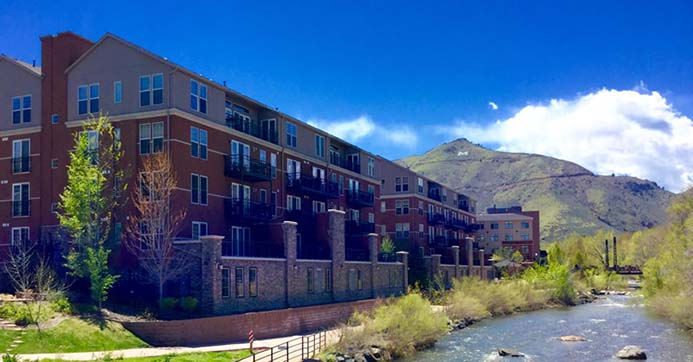 Millstone Condominiums offer garden level patios, second and third floor balconies and penthouse terraces giving homeowners the best views of Golden, Colorado