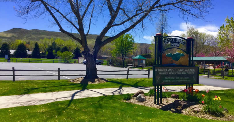 Maple Grove Park and the Clear Creek trail for is great for hiking, running, biking and dog walks in Golden, Colorado