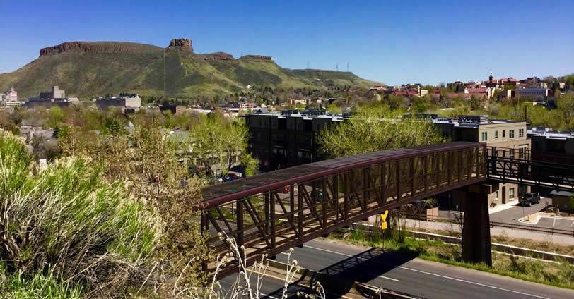 Sixth Street Condos is near the pedestrian bridge to Lions Park, Clear Creak and downtown Golden, Colorado