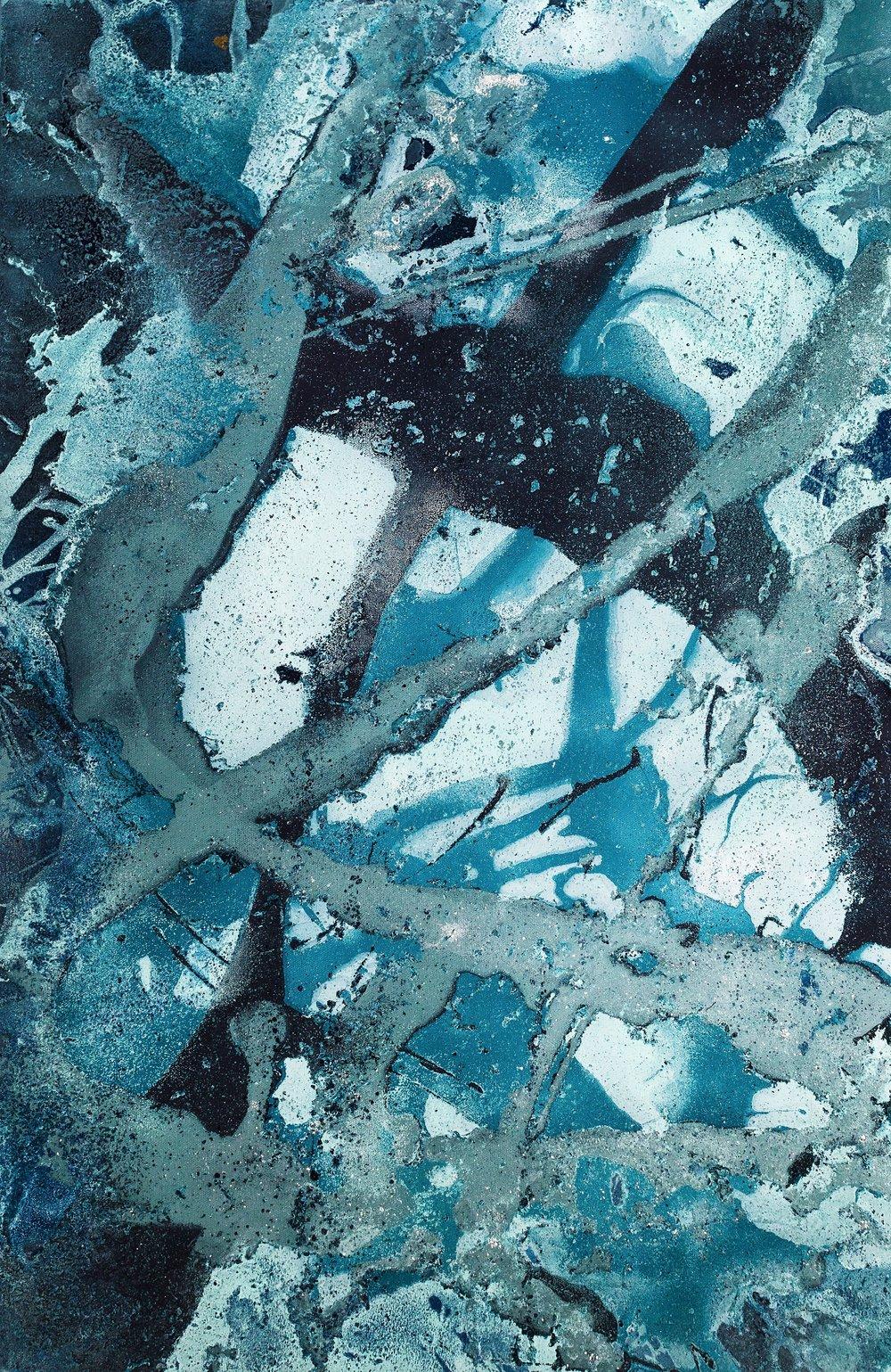 """Harvey   Spray Paint and Harvey Rain on Canvas 13"""" x 19"""" Print 2017"""