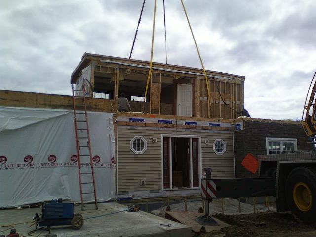 Our own modular home being set.  April 15, 2013, what an exciting day!