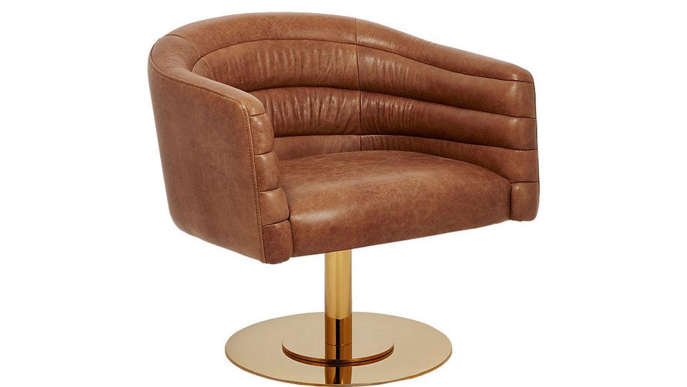 CB2 Cupa saddle leather swivel base chair