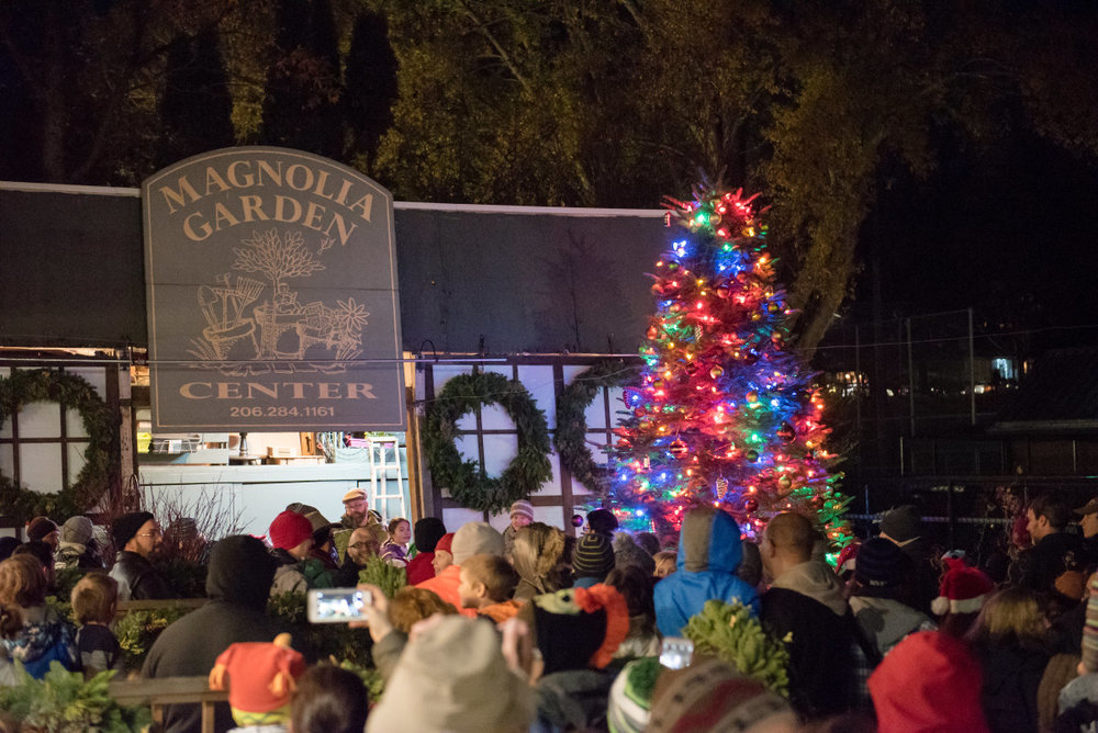 Annual tree lighting at Magnolia Garden Center