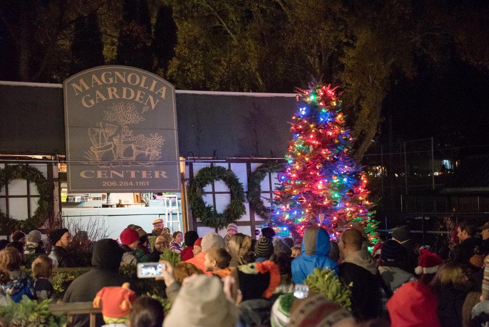 Annual tree lighting at Magnolia Garden Center